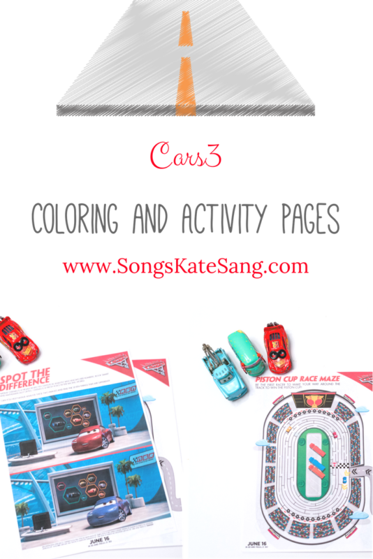 Disney Pixar s Cars 3 Coloring and Activity Pages Kate